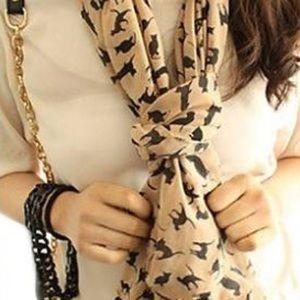 Tan cat print scarf